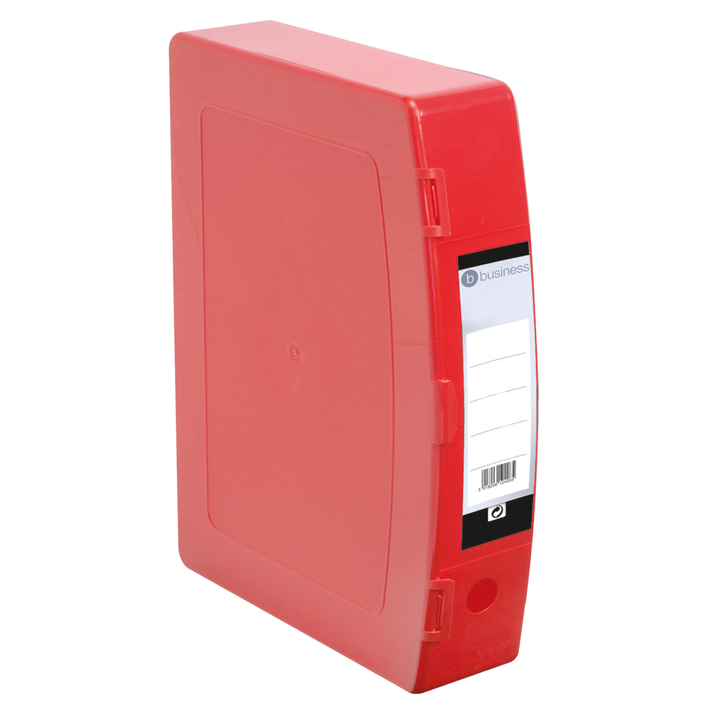 Business Office Box File 75mm Spine Polypropylene Twin Clip Lock Foolscap Red