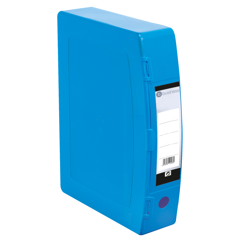 Business Office Box File 75mm Spine Polypropylene Twin Clip Lock Foolscap Blue