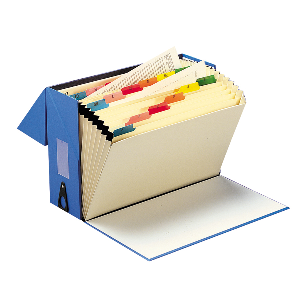 Business Office Expanding Box File 19 Pockets A-Z Foolscap Blue