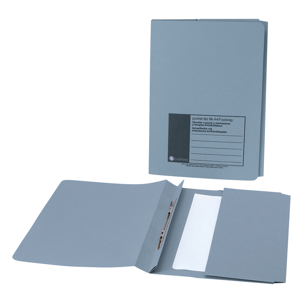 Business Office Flat Bar Pocket File Recycled Manilla 285gsm Capacity 200 Sheets Foolscap Blue Pack 25