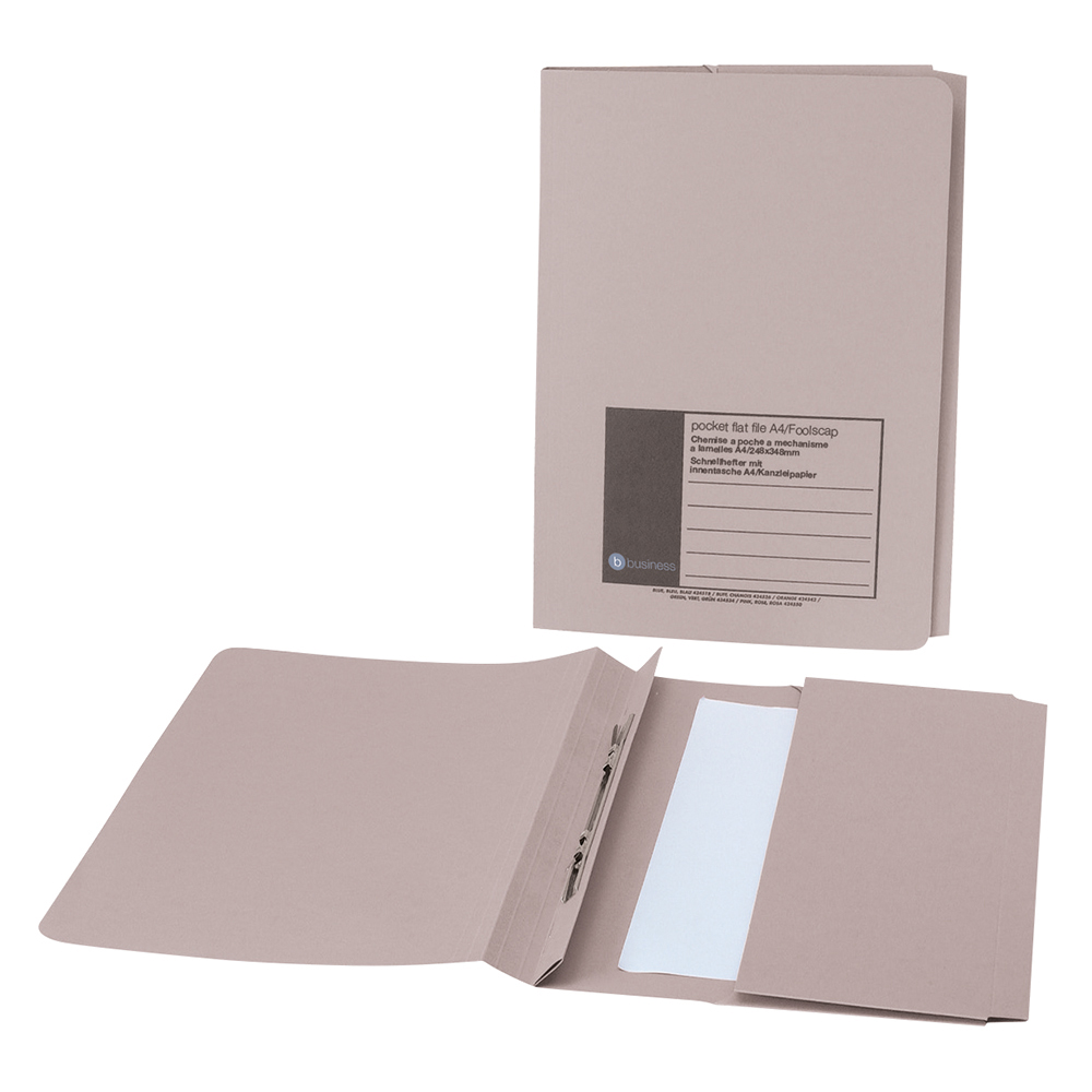 Business Office Flat Bar Pocket File Recycled Manilla 285gsm Capacity 200 Sheets Foolscap Buff Pack 25