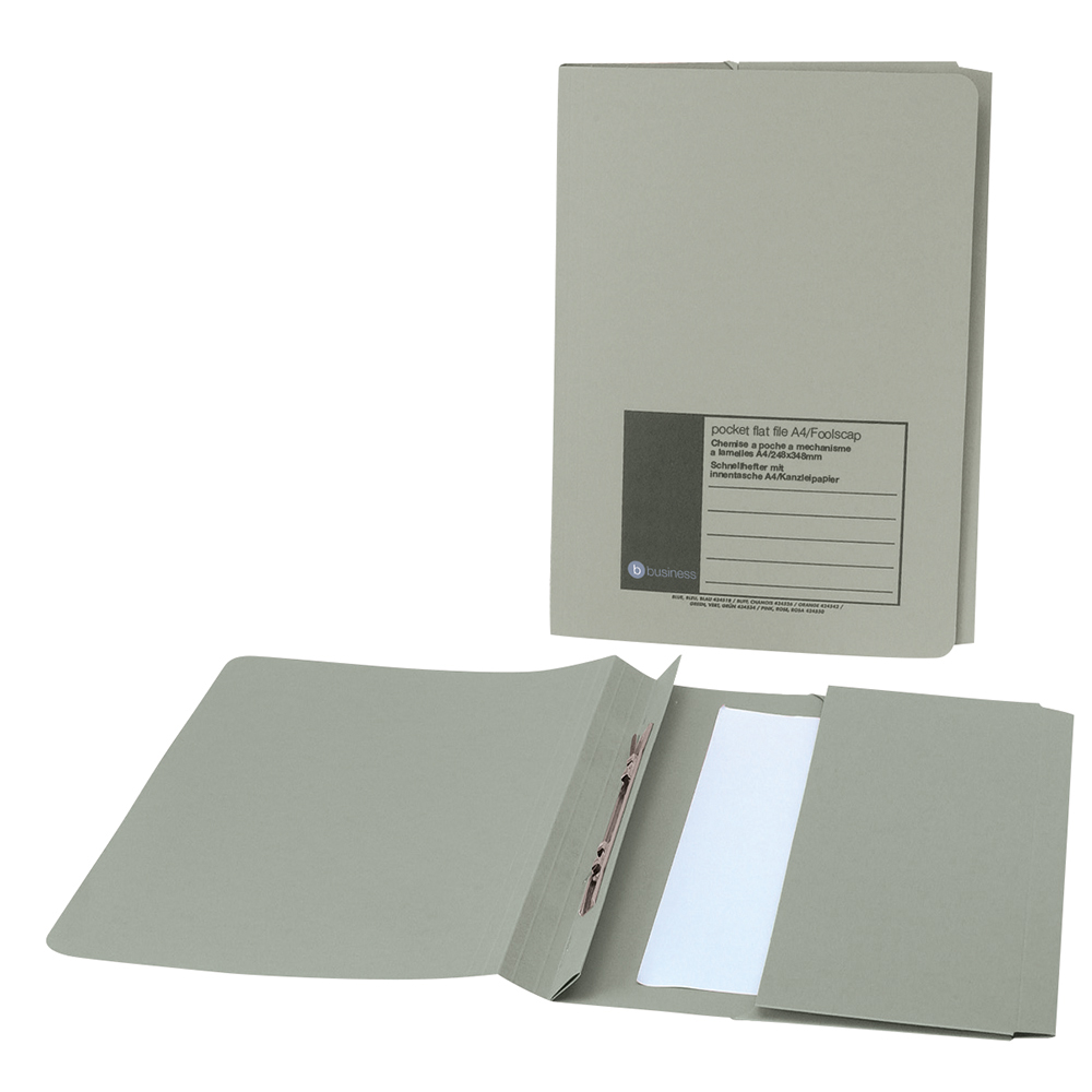 Business Office Flat Bar Pocket File Recycled Manilla 285gsm Capacity 200 Sheets Foolscap Green Pack 25