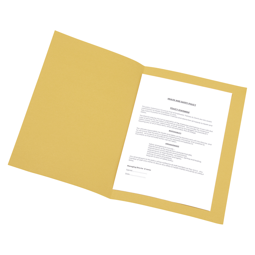 Business Yellow 250gsm Recycled Foolscap Pre-Punched Square Cut Folders Pack of 100