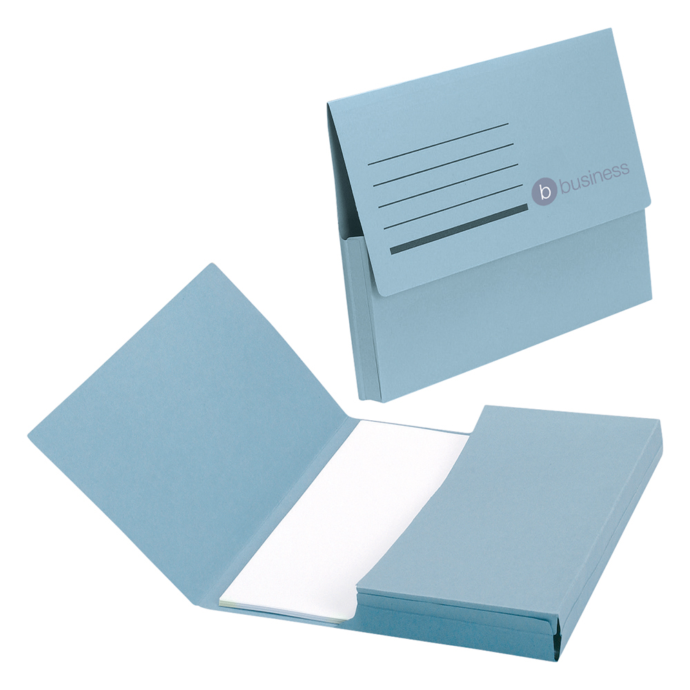 Business Blue 285gsm Recycled Foolscap Half Flap Document Wallets Pack of 50
