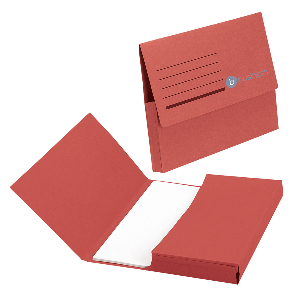 Business Document Wallet Half Flap Recycled Manilla 285gsm Capacity 32mm Foolscap Red (Pack of 50)
