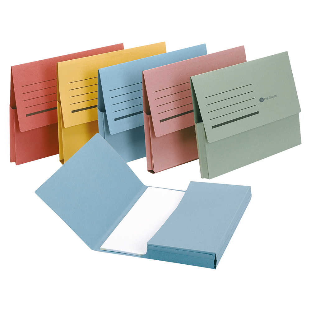 Business Document Wallet Half Flap Recycled Manilla 285gsm Capacity 32mm Foolscap Assorted (Pack of 50)