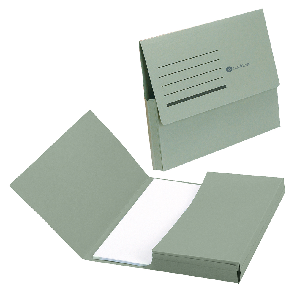 Business Document Wallet Half Flap Recycled Manilla 285gsm Capacity 32mm A4 Green (Pack of 50)