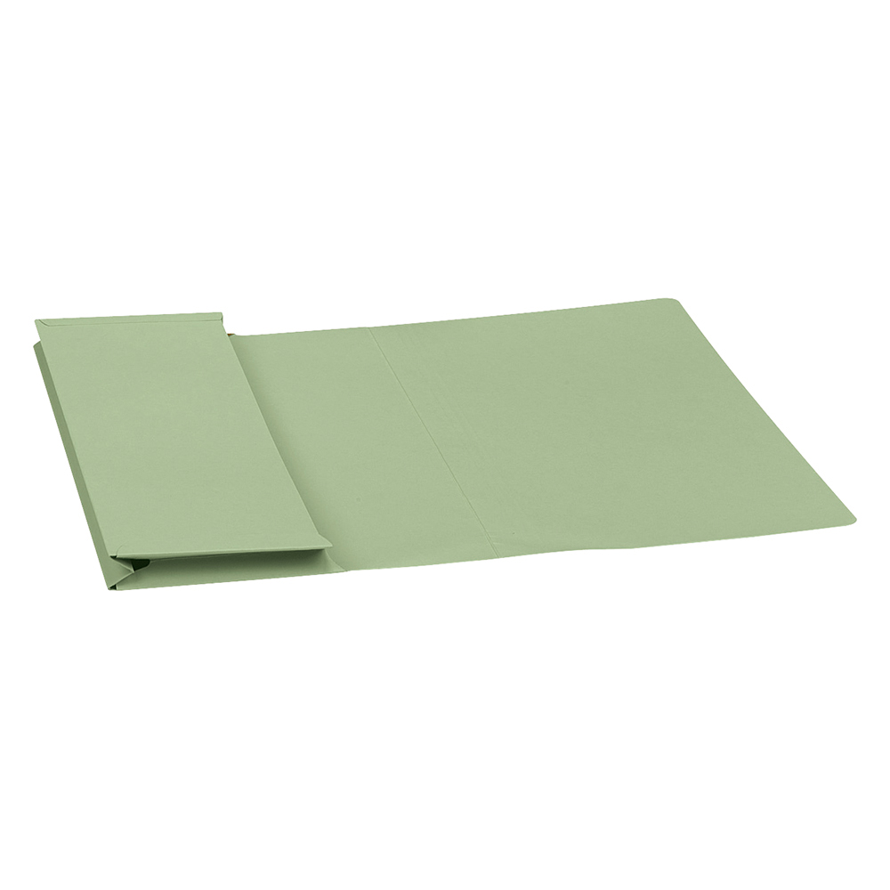 Business Premium Document Wallet Full Flap Manilla 315gsm Capacity 35mm Foolscap Green (Pack of 50)