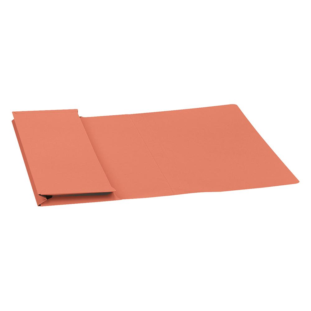 Business Premium Document Wallet Full Flap Manilla 315gsm Capacity 35mm Foolscap Orange (Pack of 50)
