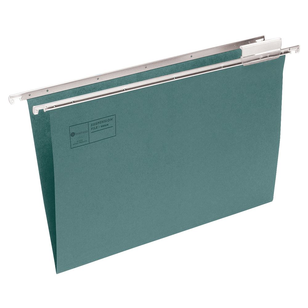 Business Suspension File with Tabs and Inserts Manilla Foolscap Green (Pack of 50)