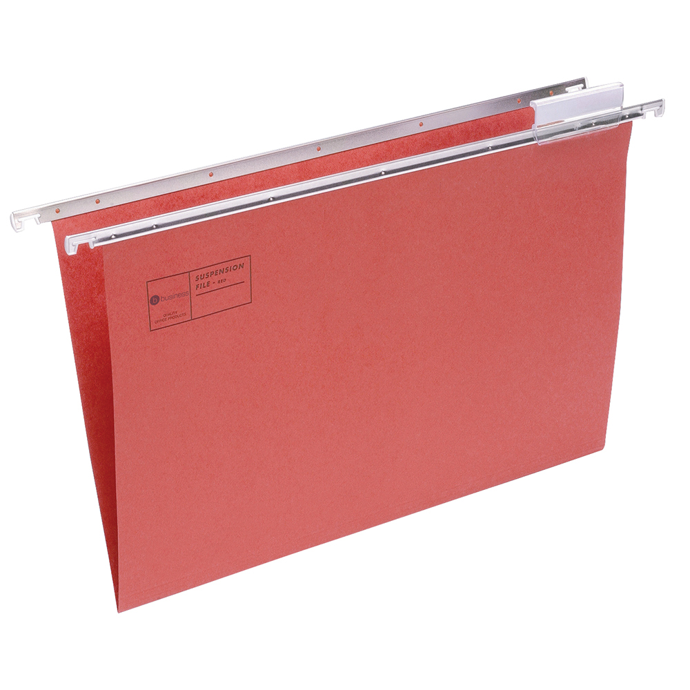 Business Suspension File with Tabs and Inserts Manilla Foolscap Red (Pack of 50)