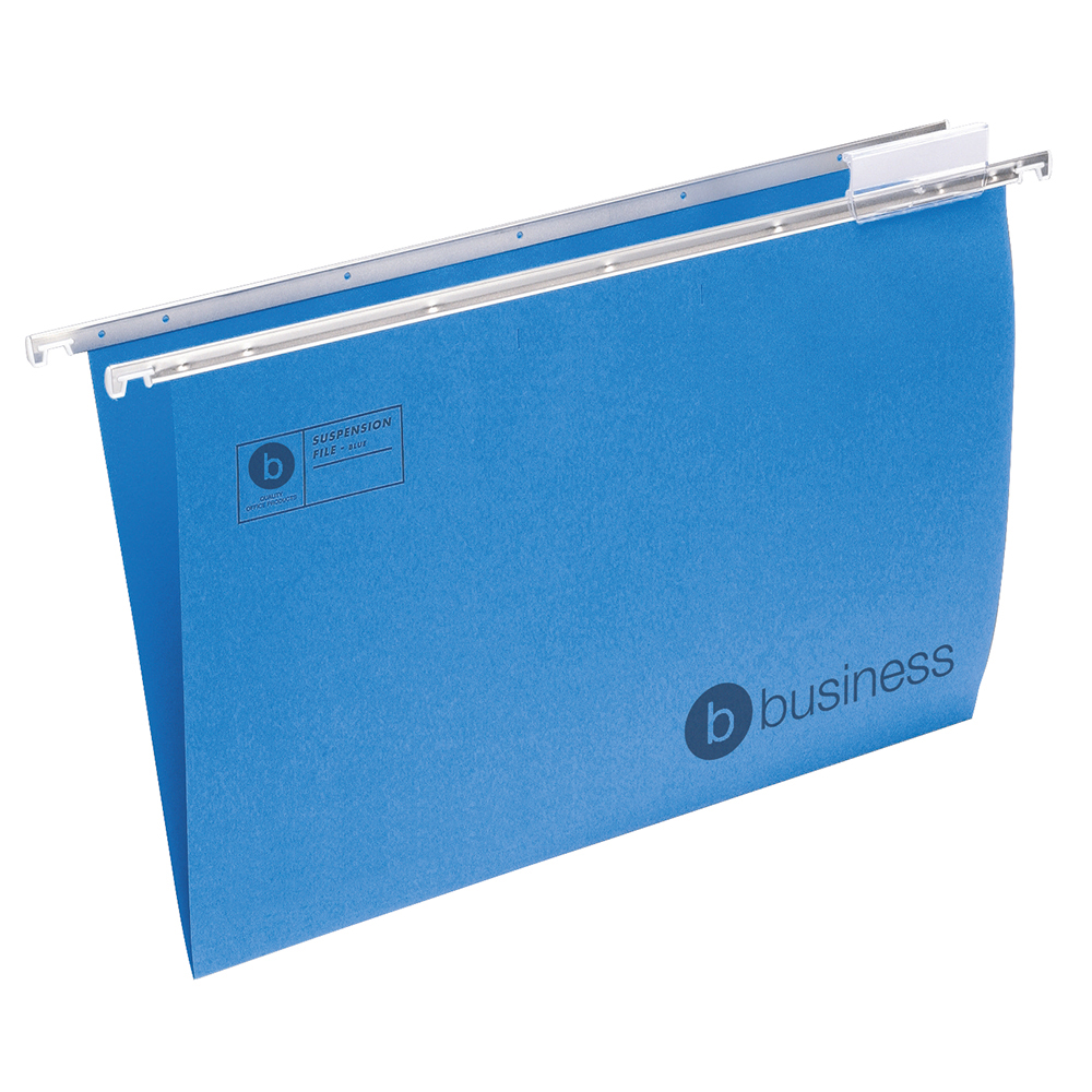 Business Suspension File with Tabs and Inserts Manilla Foolscap Blue (Pack of 50)