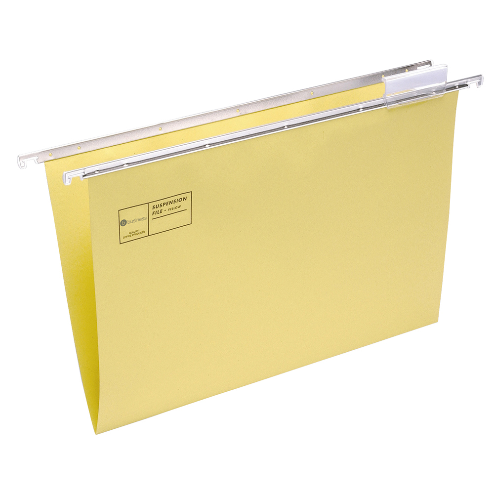 Business Suspension File with Tabs and Inserts Manilla Foolscap Yellow (Pack of 50)