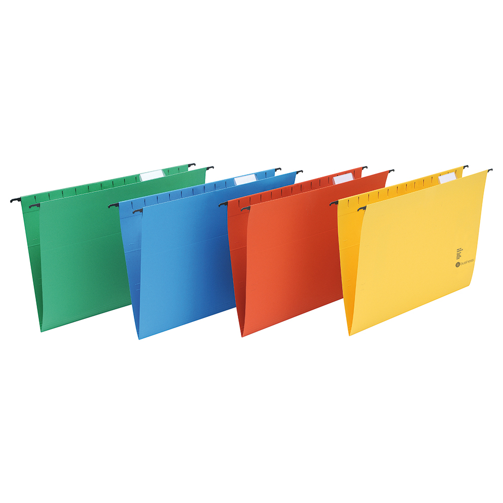 Business Suspension File with Tabs and Inserts Heavyweight Manilla Foolscap Green (Pack of 50)
