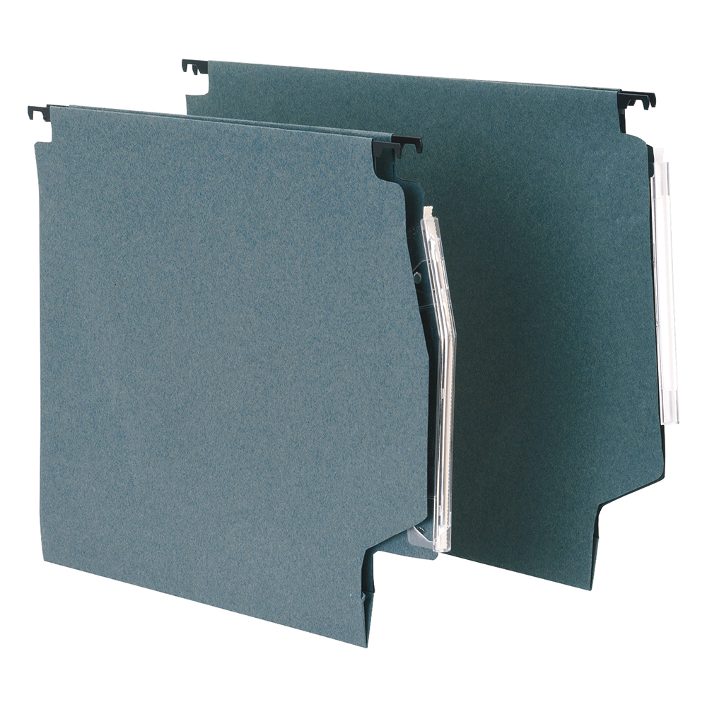 Business Lateral File with Clear Tabs and Inserts Manilla 275mm Green (Pack of 50)