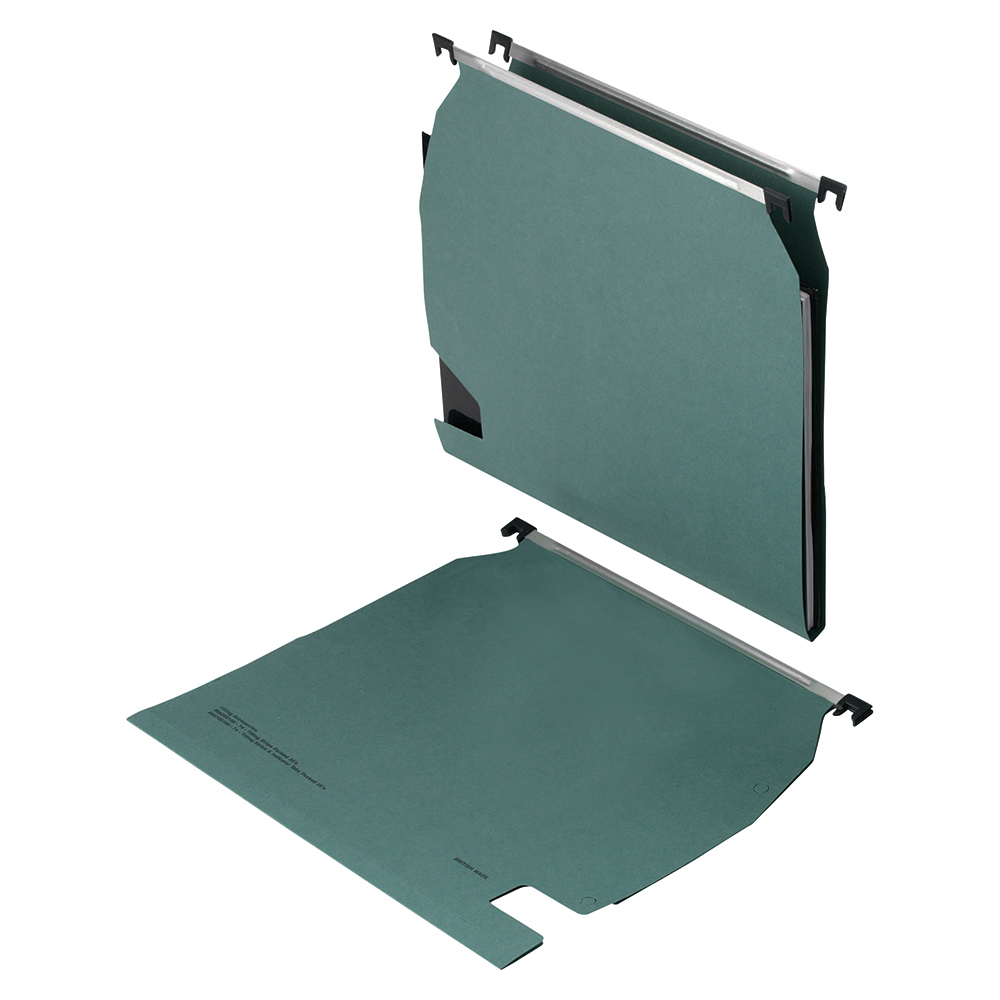 Business Lateral File with Clear Tabs and Inserts Manilla 270mm Green (Pack of 25)