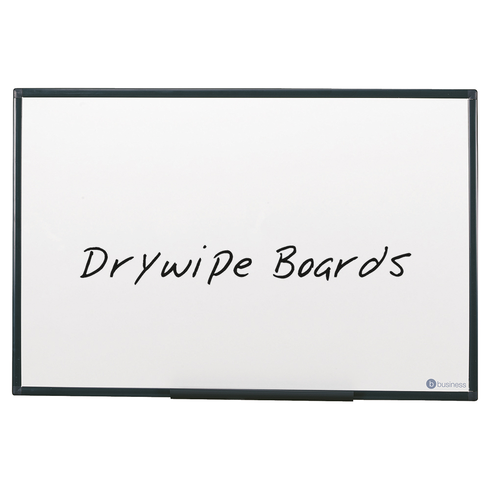 Business Lightweight Drywipe Board with Fixing Kit and Detachable Pen Tray Graphite Grey Trim 900 x 600mm (Pack of 1)