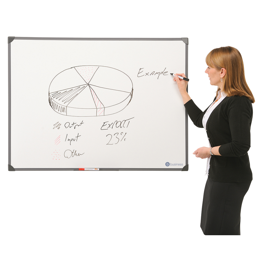 Business Lightweight Drywipe Board with Fixing Kit and Detachable Pen Tray 1200 x 900mm Graphite Grey Trim (Pack of 1)