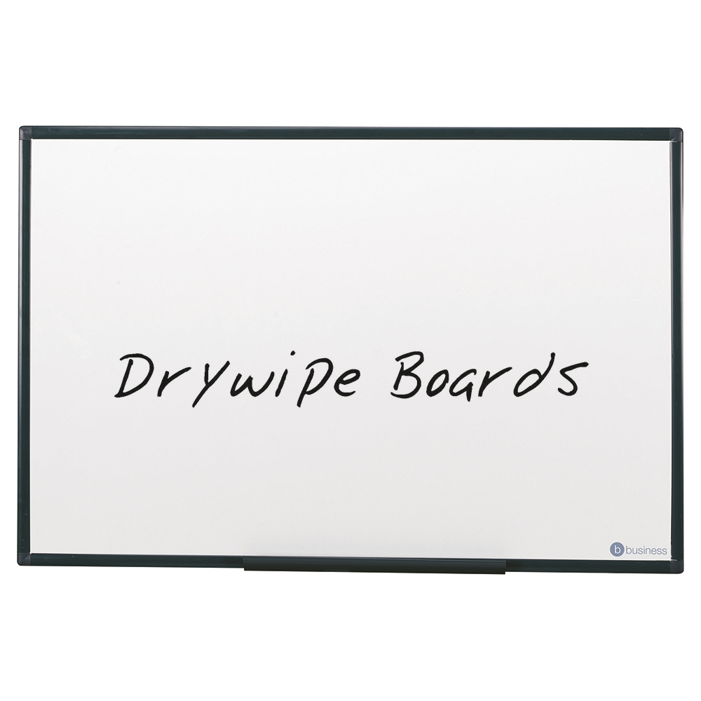 Business Lightweight Drywipe Board with Fixing Kit and Detachable Pen Tray 600 x 450 Graphite Grey Trim (Pack of 1)