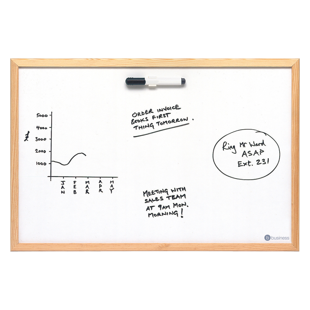 Business Lightweight Drywipe Board with Fixing Kit and Detachable Pen Tray Wooden Frame 600 x 400 (Pack of 1)