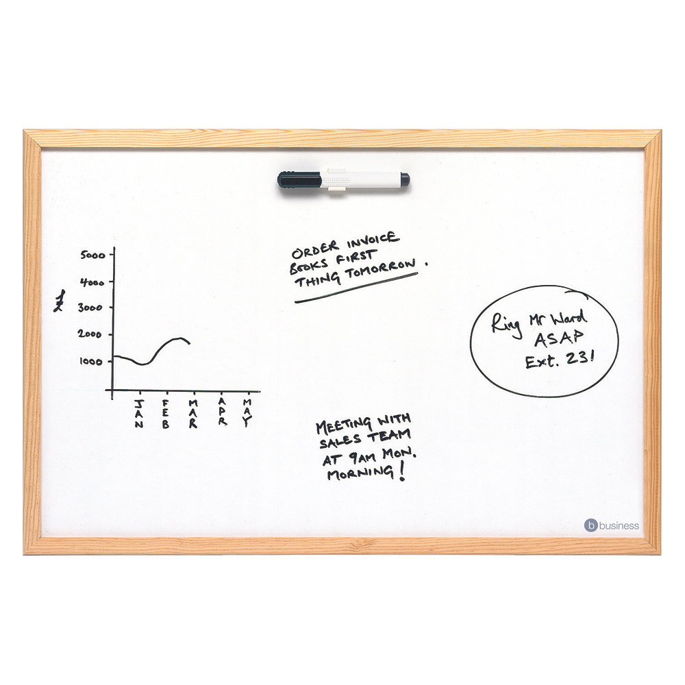 Business Lightweight Drywipe Board with Fixing Kit and Detachable Pen Tray Wooden Frame 900 x 600 (Pack of 1)