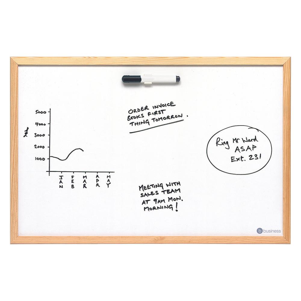 Business Office Value Drywipe Board Lightweight W900xH600mm