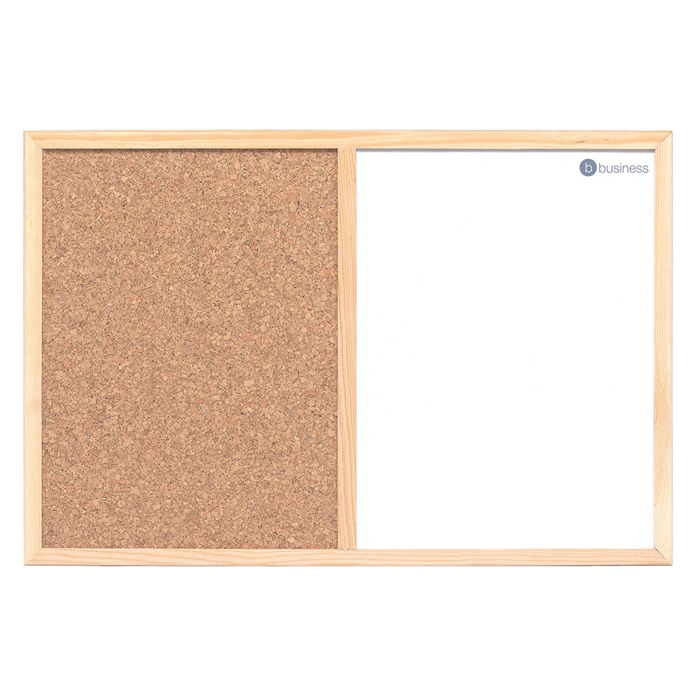 Business Combination Noticeboard Cork and Drywipe 600 x 400mm Wooden Frame (Pack of 1)