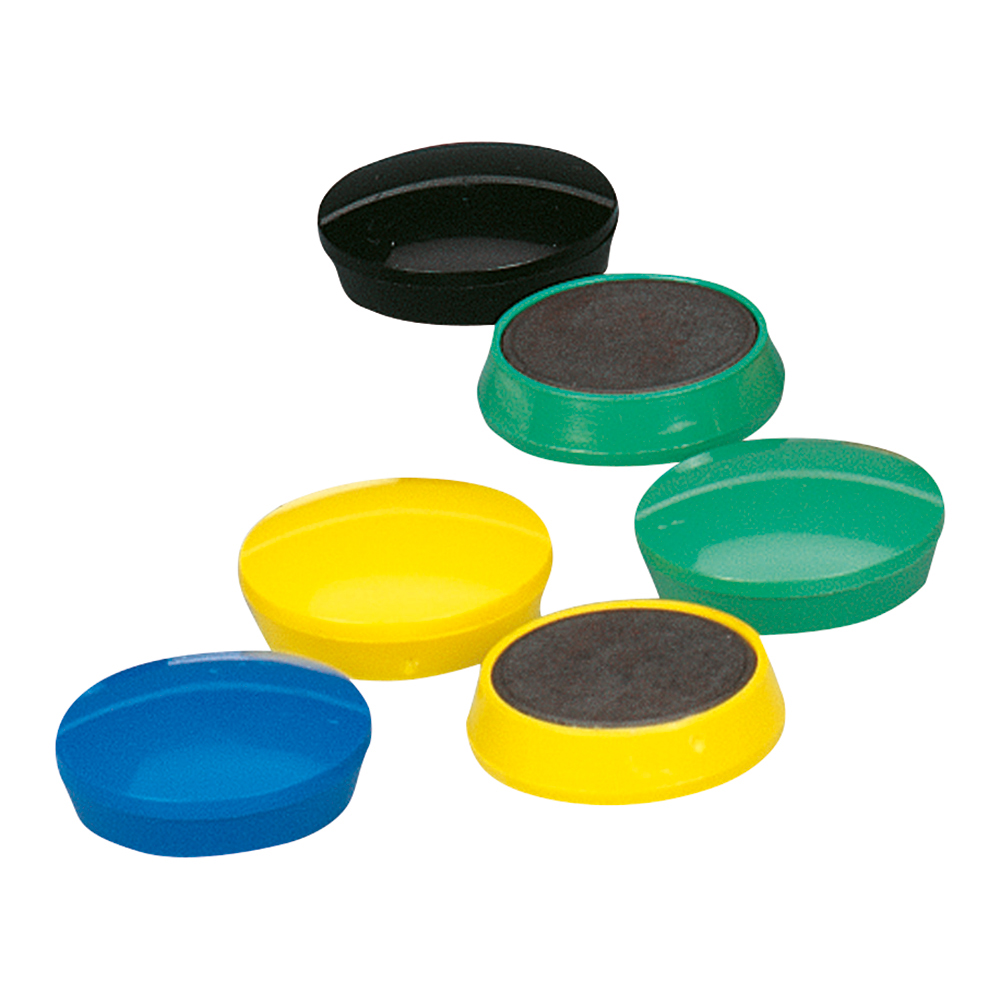 Business Office Round Plastic Covered Magnets 30mm Assorted Pack 10