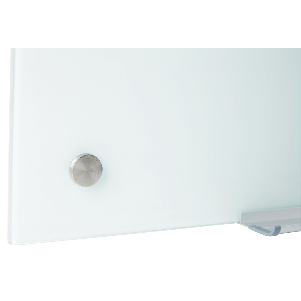 Business Office Glass Board Magnetic with Wall Fixings W1264xH711mm White