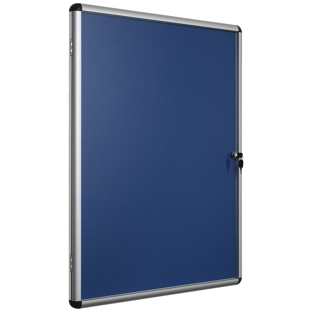 Business Blue 900x600mm Lockable Glazed Noticeboard