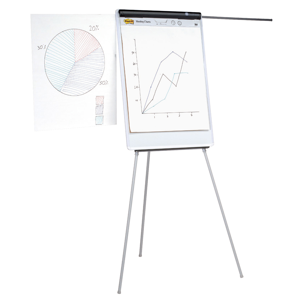 Business Office Easel Drywipe Magnetic with Pen Tray and Extension Arms Capacity A1 Grey