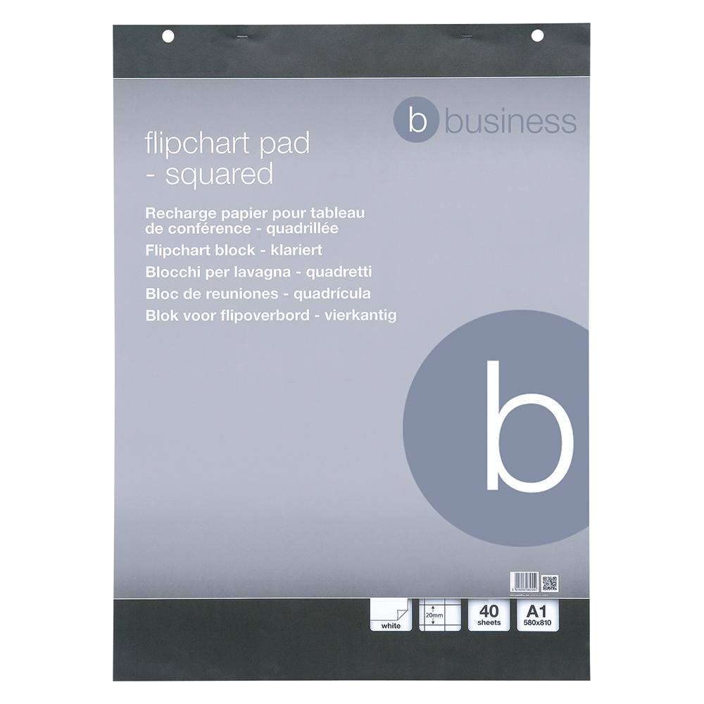 Business Office Flipchart Pad Perforated 40 Sheets A1 Feint 20mm Squared Pack 5