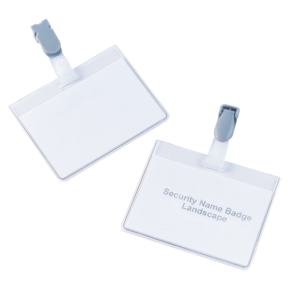 Business Security Name Badges with Plastic Clip Landscape 60 x 90mm (Pack of 25)