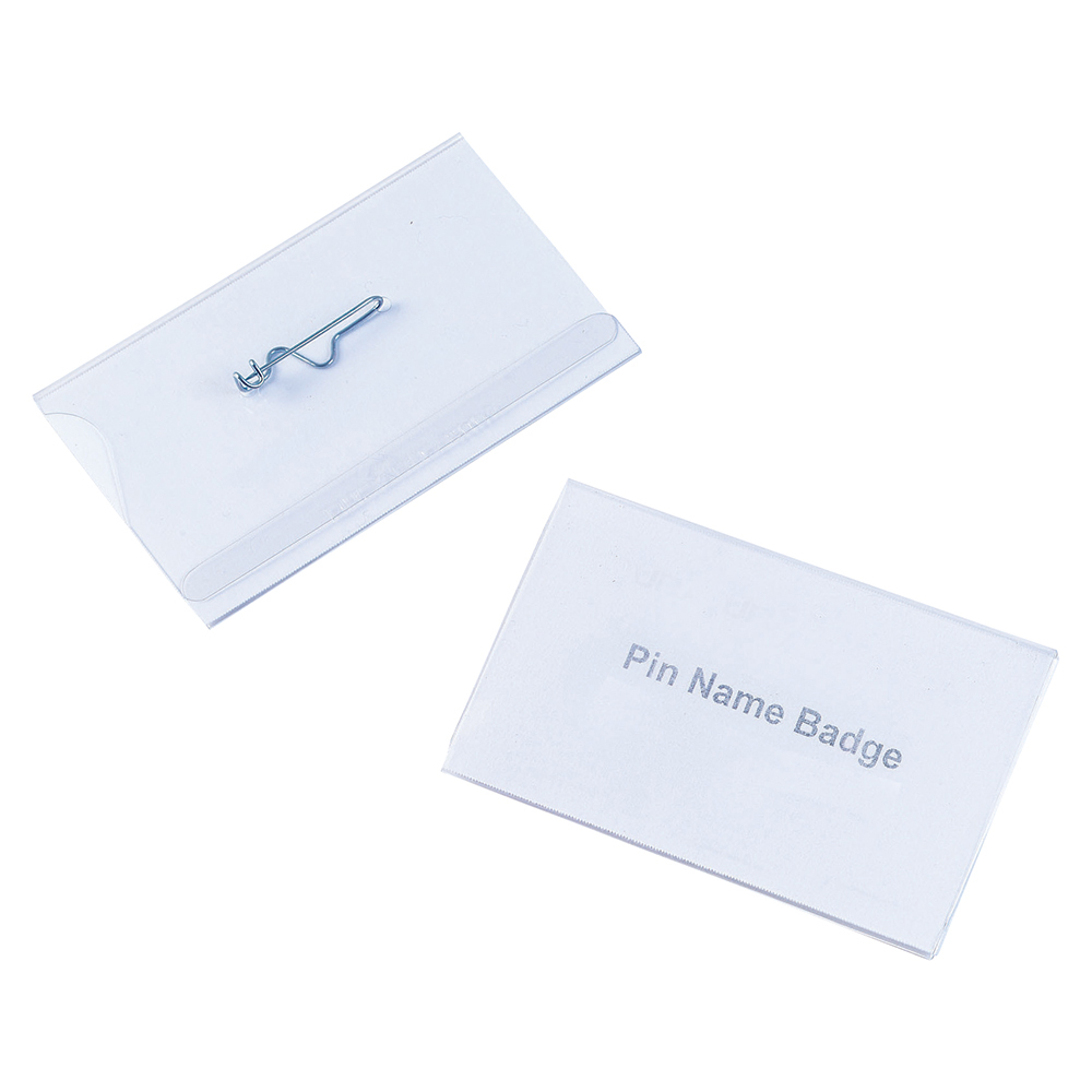 Business Security Name Badges with Pin Landscape 54 x 90mm (Pack of 50)