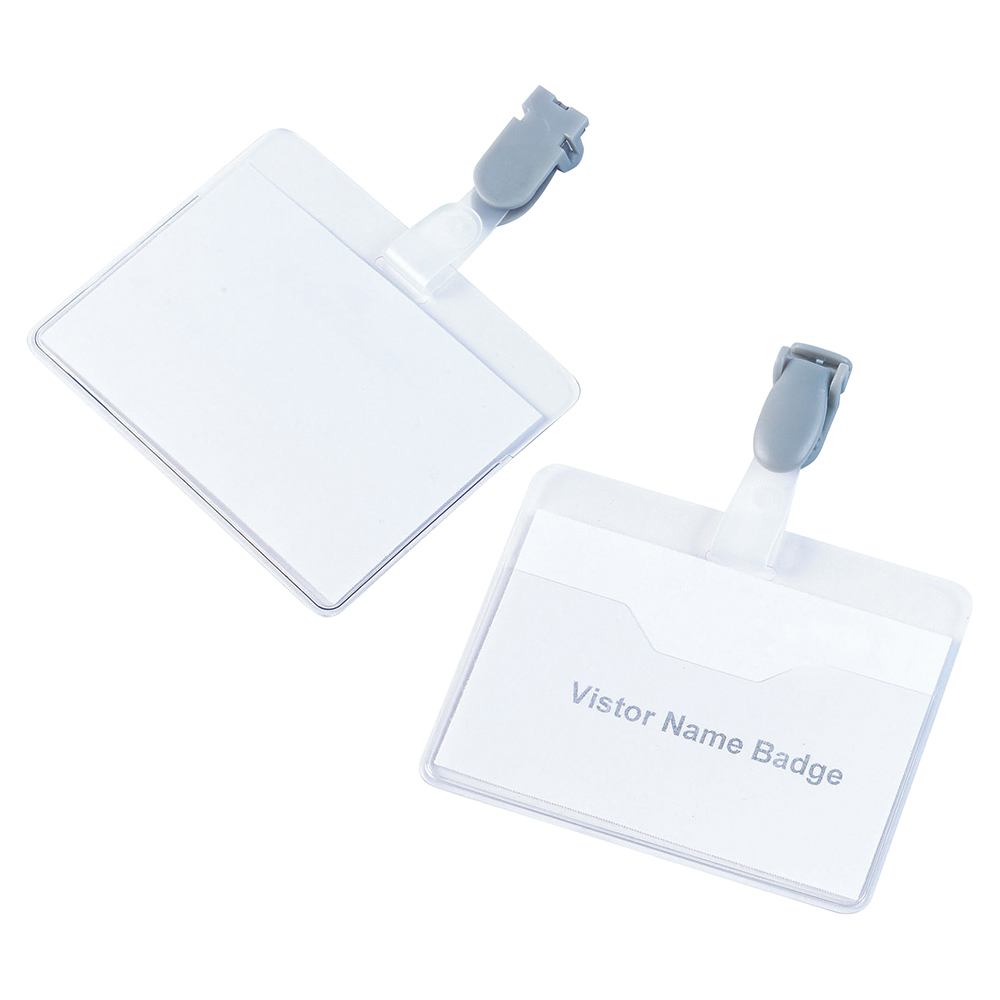 Business Visitor Name Badges with Plastic Clip Landscape 60 x 90mm (Pack of 25)