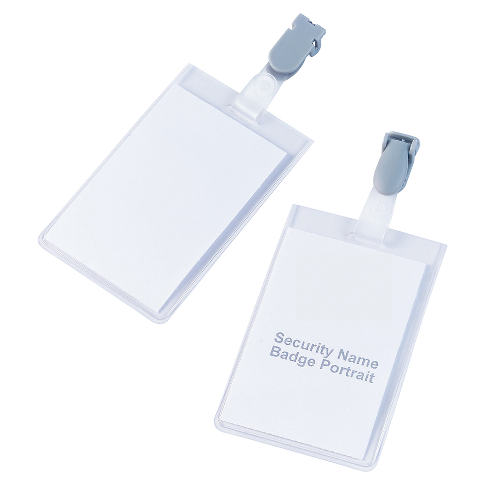 Business Security Name Badges with Plastic Clip Portrait 90 x 60mm (Pack of 25)
