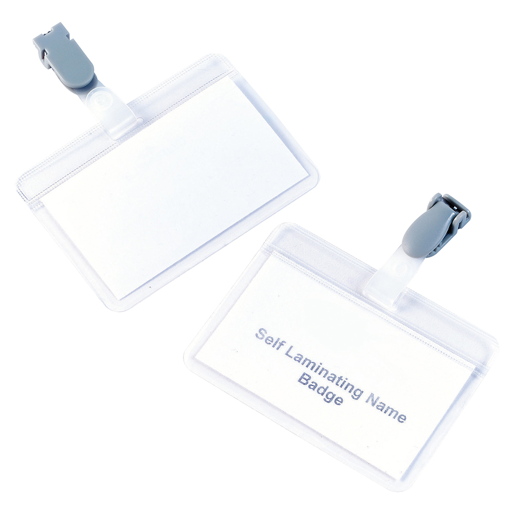 Business Self Laminating Badges with Plastic Clip Landscape 54 x 90mm (Pack of 25)