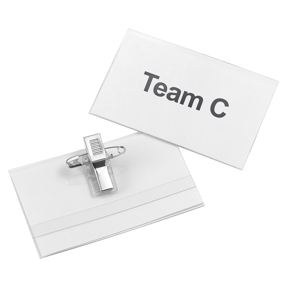 Business Name Badge with Combi-Clip Polypropylene 45 x 75mm (Pack of 50)