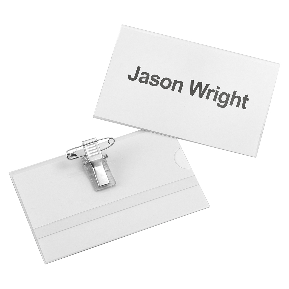 Business Name Badge with Combi-Clip PVC 54 x 90mm (Pack of 25)