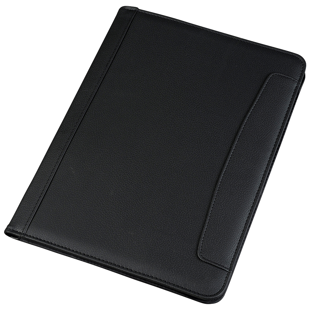 Business Conference Folio Case Folder Leather Look A4 Black (Pack of 1)