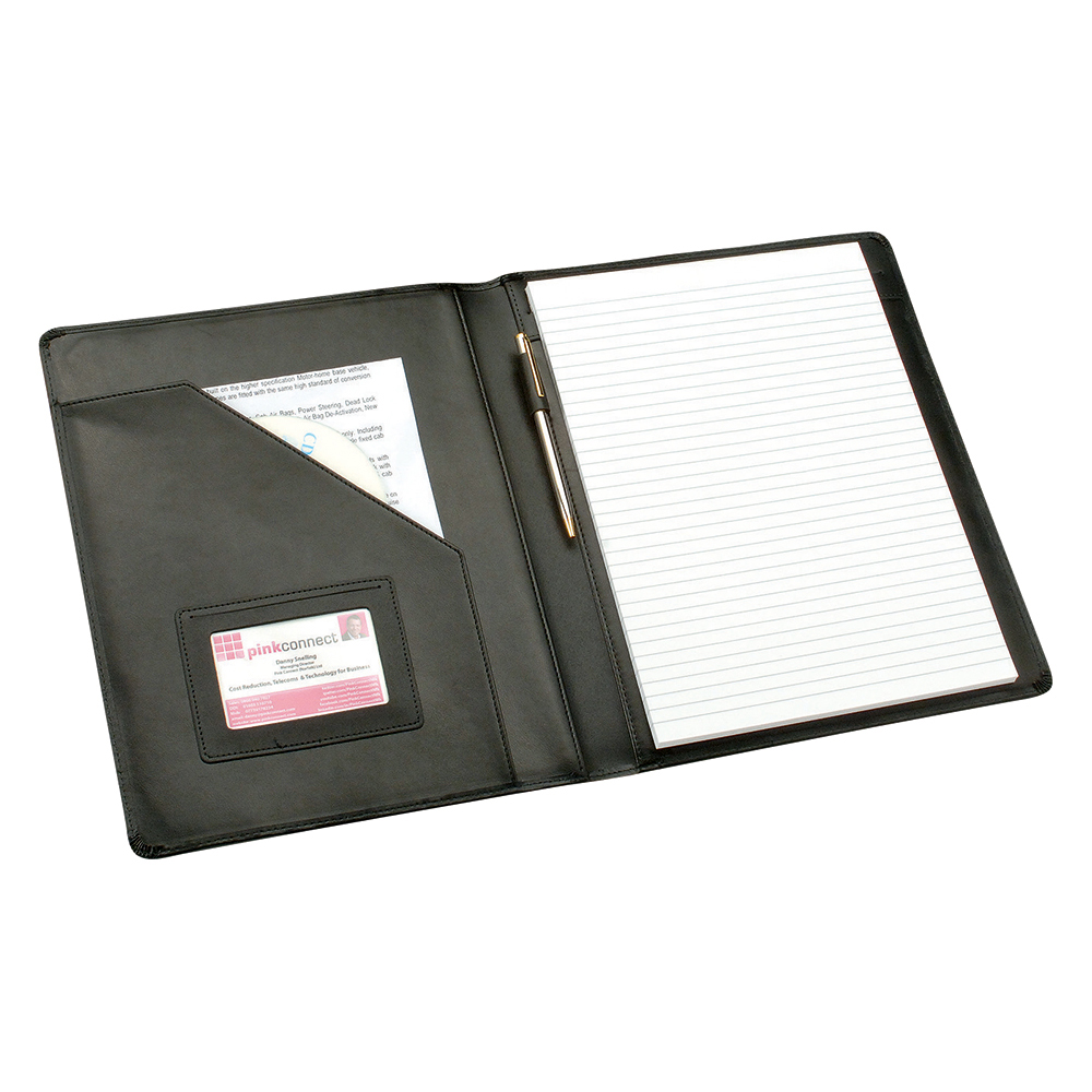 Business Elite Executive Conference Folder Genuine Leather Capacity 30mm A4 Black