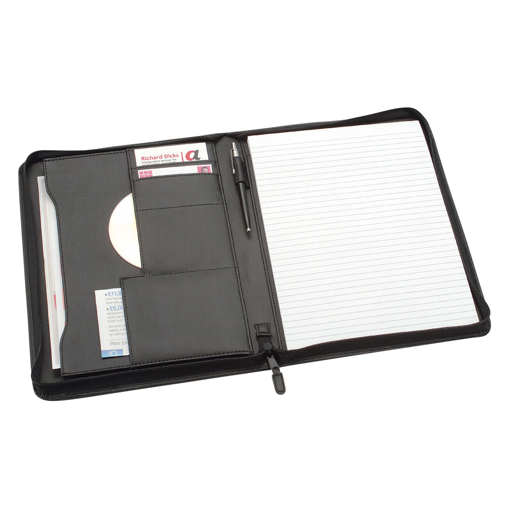 Business Office Zipped Conference Folder Capacity 20mm Leather Look A4 Black