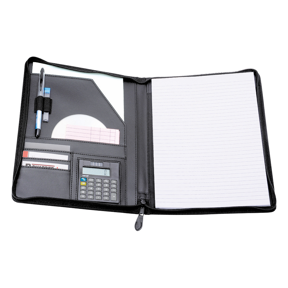 Business Elite Zipped Conference Folder with Calculator Leather Look A4 Black