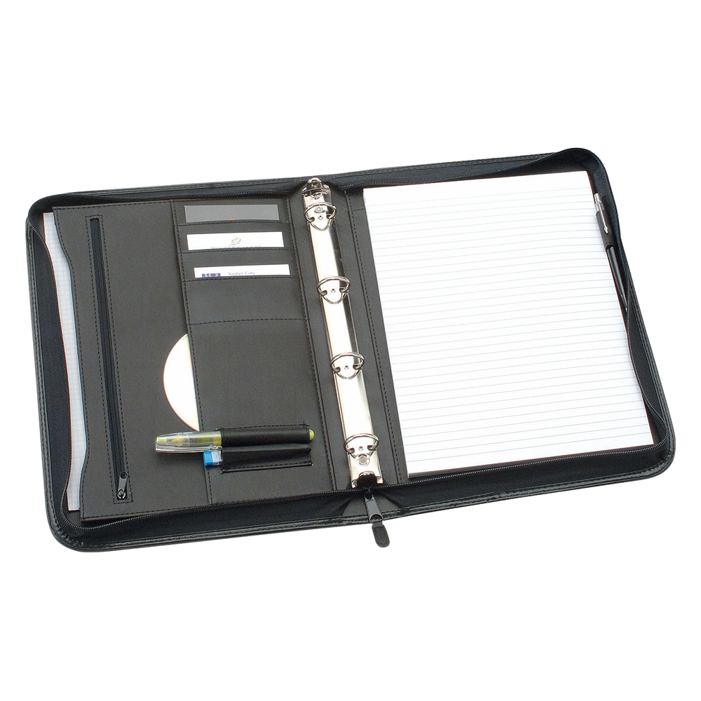 Business Office Zipped Conference Ring Binder Capacity 25mm Leather Look A4 Black