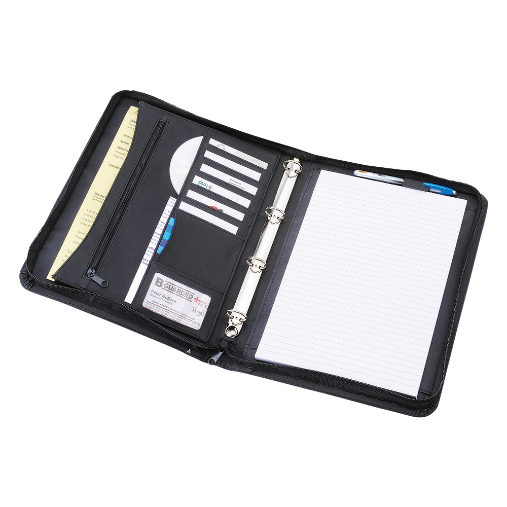 Business Office Zipped Conference Ring Binder Capacity 30mm Leather Look A4 Black