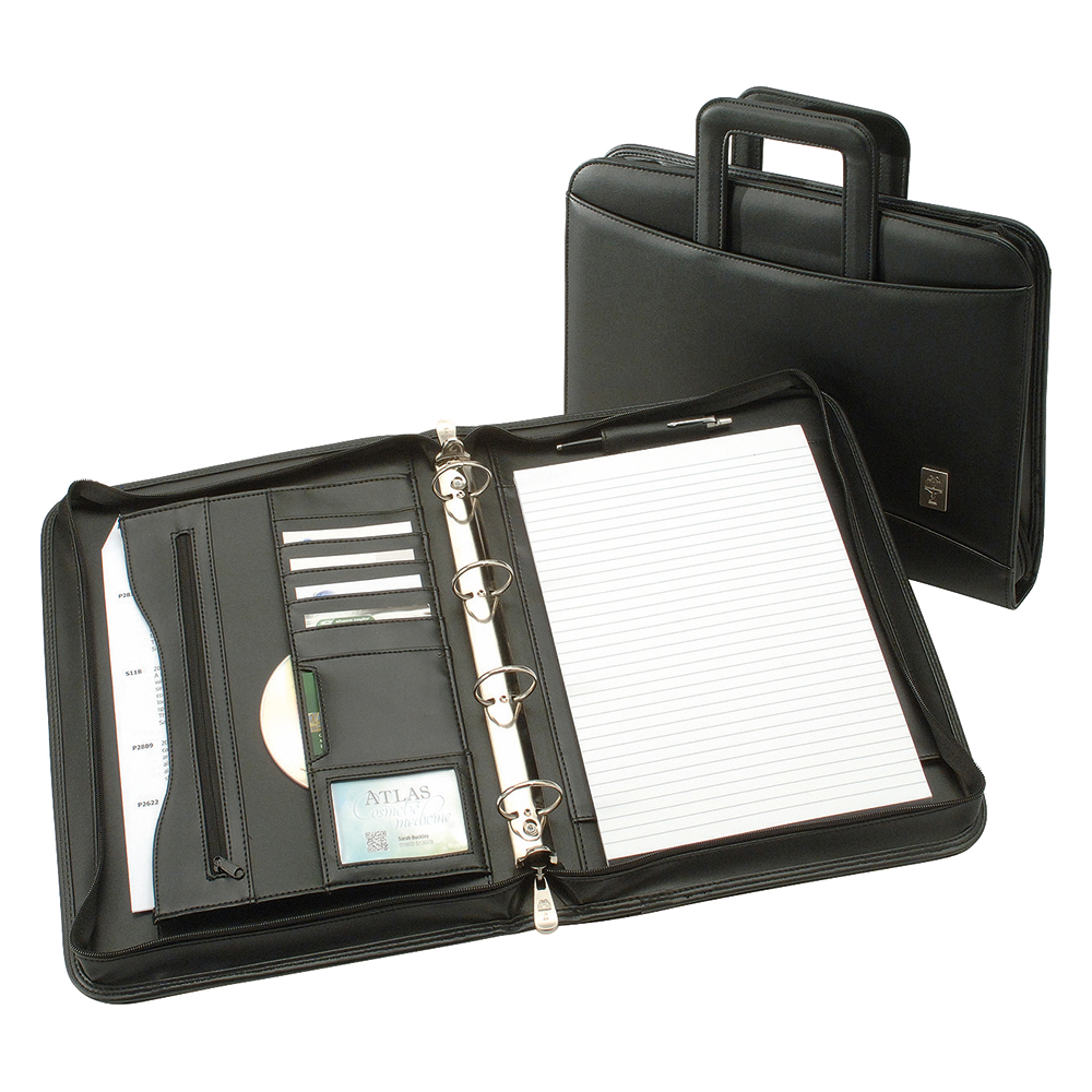 Business Office Zipped Conference Ring Binder with Handles Capacity 60mm Leather Look A4 Black