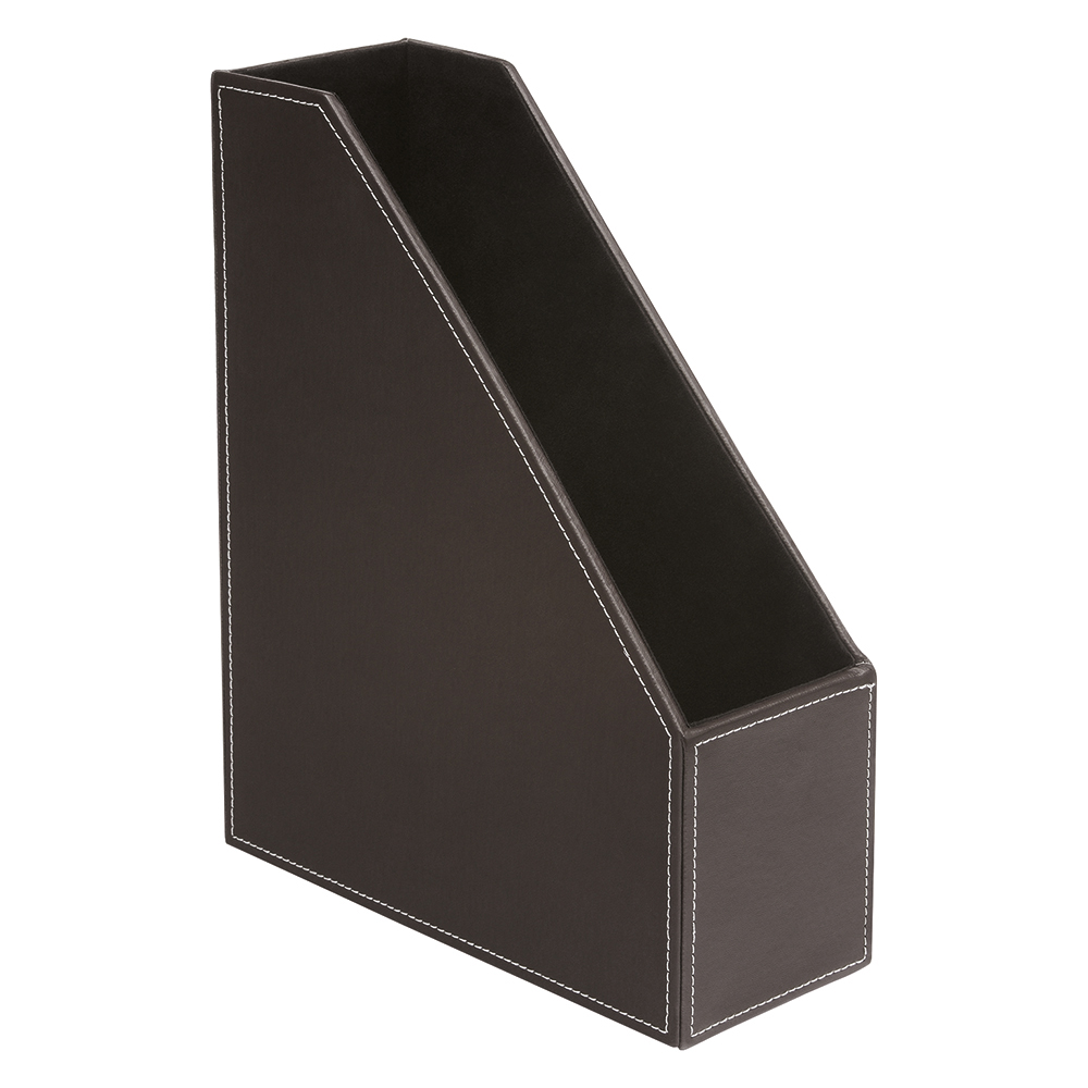 Business Premium Magazine File Faux Leather Brown (Pack of 1)