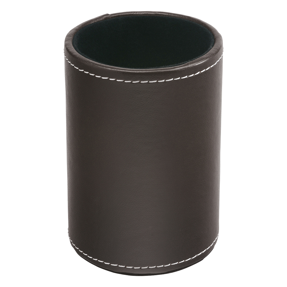 Business Premium Pen Holder Faux Leather Brown (Pack of 1)