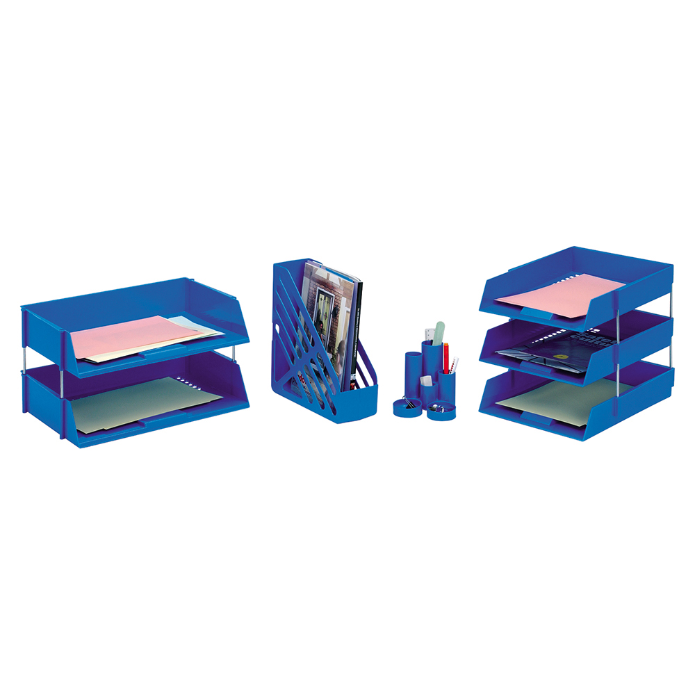 Business Letter Tray High-impact Polystyrene Foolscap Blue (Pack of 1)