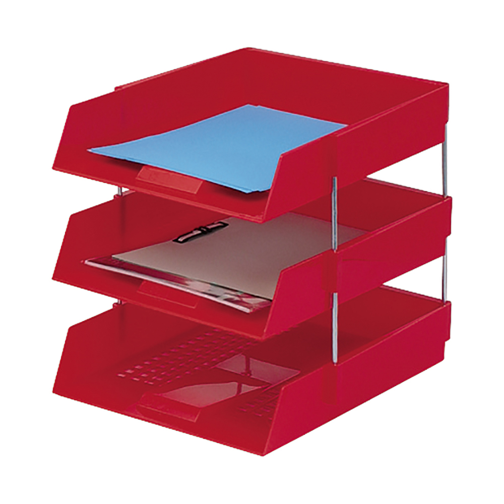 Business Letter Tray High-impact Polystyrene Foolscap Red (Pack of 1)